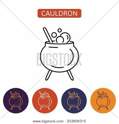Witch cauldron icon with potion and bubbles isolated on white background. Pot with magic brew. Design element for Halloween. Vector illustration in flat style for your design.