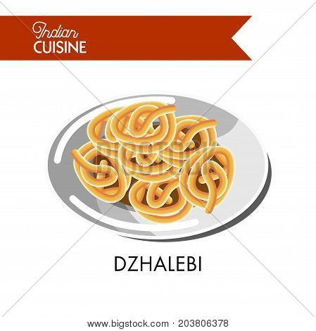 Light sweet dzhalebi on shiny plate isolated cartoon flat vector illustration on white background. Sweet crispy spirals of traditional Indian cuisine. Tasty fastfood snack made of crunchy dough.