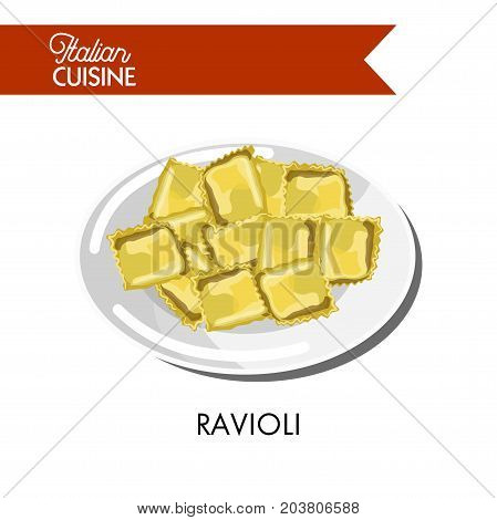 Delicious small Italian ravioli on shiny plate isolated cartoon flat vector illustration on white background. Italian dough pasta of square shape with juicy boiled meat and tender cheese fillings.