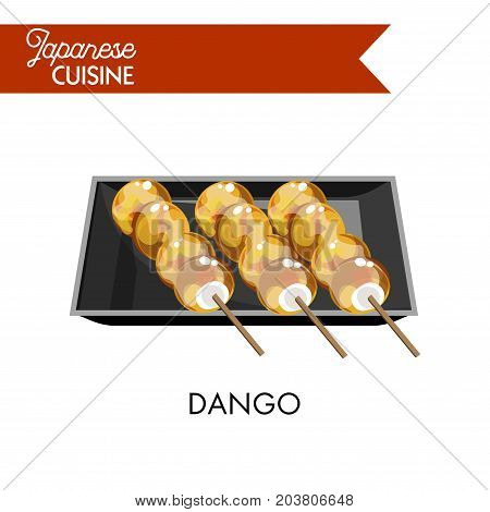 Exotic Japanese dango on wooden sticks in square plate of black ceramic isolated vector illustration on white background. Balls of mochi covered with syrup of soy sauce, sweet sugar and common starch.