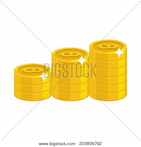 Bitcoin golden stack. Virtual currency purchase, sell and store money safely, online community. Cartoon vector illustration on white background