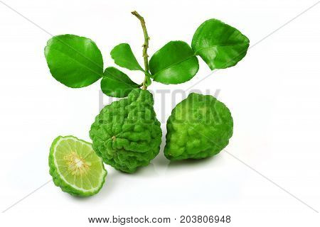 Fresh of bergamot fruit with leaf isolated on white background