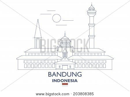 Bandung Linear City Skyline Indonesia. Famous place