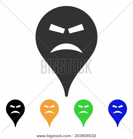 Furious Smiley Map Marker icon. Vector illustration style is a flat iconic furious smiley map marker symbol with black, grey, green, blue, yellow color versions.