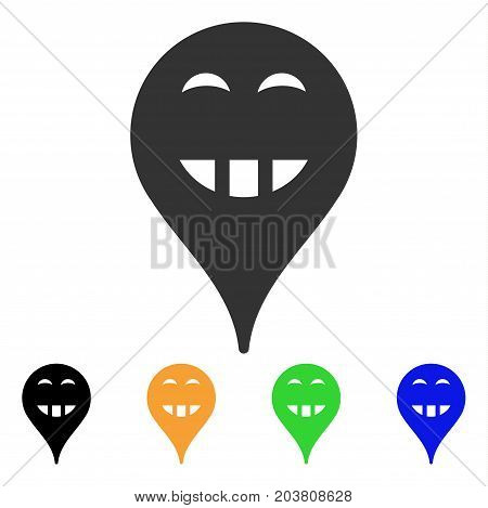 Laugth Smiley Map Marker icon. Vector illustration style is a flat iconic laugth smiley map marker symbol with black, gray, green, blue, yellow color variants.
