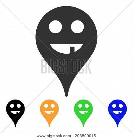 Toothless Smiley Map Marker icon. Vector illustration style is a flat iconic toothless smiley map marker symbol with black, grey, green, blue, yellow color variants.