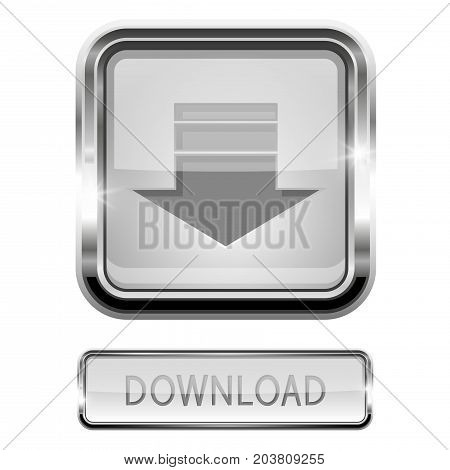 Download button with chrome frame. Vector 3d illustration isolated on white background