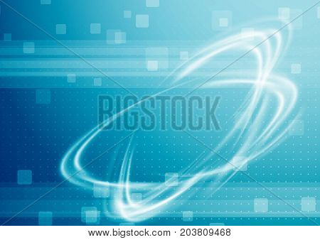 High-tech modern background with transparent power swoosh. Abstract technology futuristic science layout with energy tornado swirl. Vector illustration