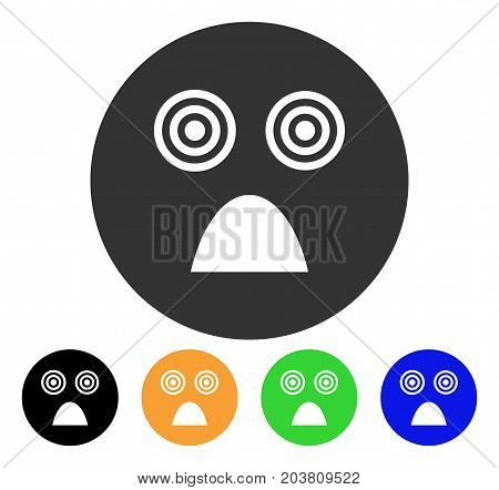 Crazy Smiley icon. Vector illustration style is a flat iconic crazy smiley symbol with black, gray, green, blue, yellow color variants. Designed for web and software interfaces.