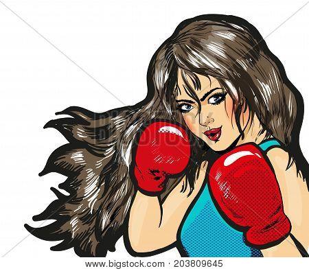 Girl boxing pop art comic stock vector isolated