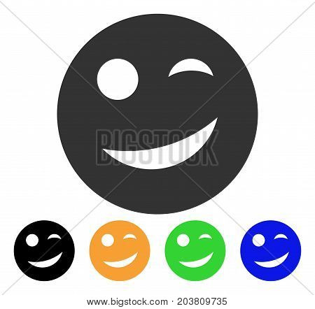 Joy Smiley icon. Vector illustration style is a flat iconic joy smiley symbol with black, grey, green, blue, yellow color versions. Designed for web and software interfaces.