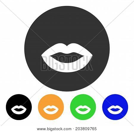 Kiss Smiley icon. Vector illustration style is a flat iconic kiss smiley symbol with black, grey, green, blue, yellow color versions. Designed for web and software interfaces.