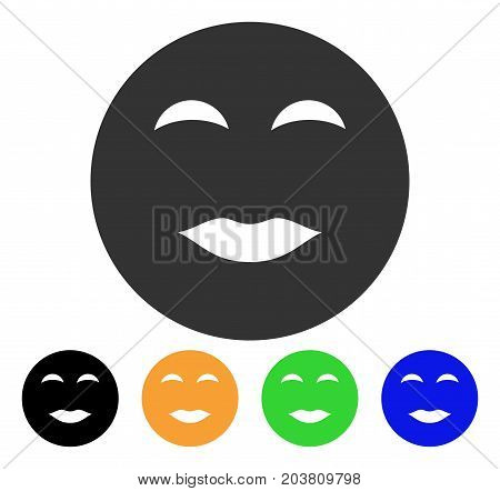 Lady Pleasure Smiley icon. Vector illustration style is a flat iconic lady pleasure smiley symbol with black, gray, green, blue, yellow color versions. Designed for web and software interfaces.