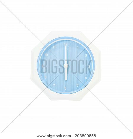 Closeup blue wall clock for decorate in 6 o'clock isolated on white background with clipping path