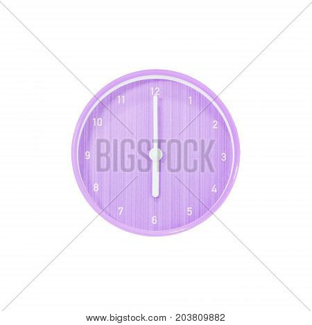 Closeup purple circle wall clock for decorate in 6 o'clock isolated on white background with clipping path
