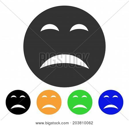 Pity Smiley icon. Vector illustration style is a flat iconic pity smiley symbol with black, gray, green, blue, yellow color versions. Designed for web and software interfaces.