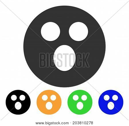 Surprized Smiley icon. Vector illustration style is a flat iconic surprized smiley symbol with black, grey, green, blue, yellow color versions. Designed for web and software interfaces.