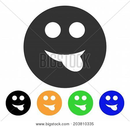 Tongue Smiley icon. Vector illustration style is a flat iconic tongue smiley symbol with black, grey, green, blue, yellow color versions. Designed for web and software interfaces.