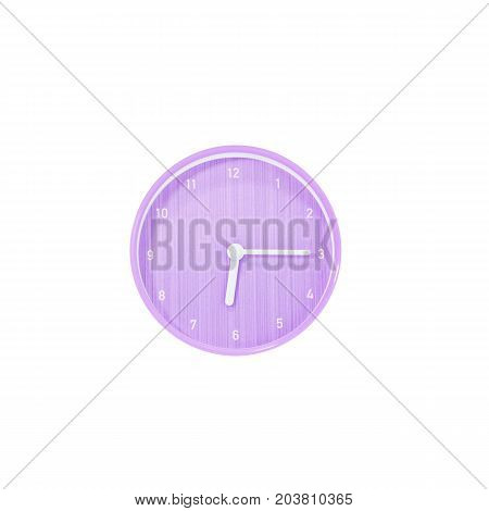 Closeup purple circle wall clock for decorate show a quarter past six or 6:15 a.m. isolated on white background with clipping path
