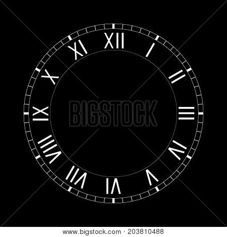 Simple clock face with roman numerals on black background. Vector illustration