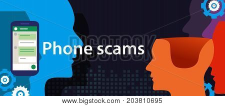 phone scam via smart-phone security fraud vector illustration head