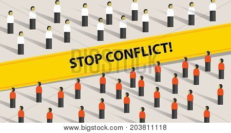 stop conflict of two crowd mediation problem fight group of people vector