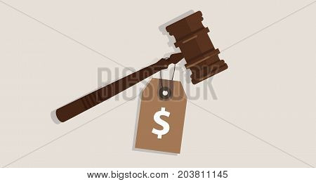 buy justice law price tag dollar sign on hammer bribery corrupted trial judgment concept of auction vector