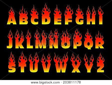 Font on fire isolated illustration.  Fiery letters.