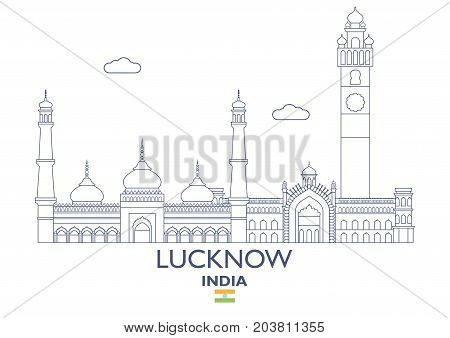 Lucknow Linear City Skyline India. Famous place