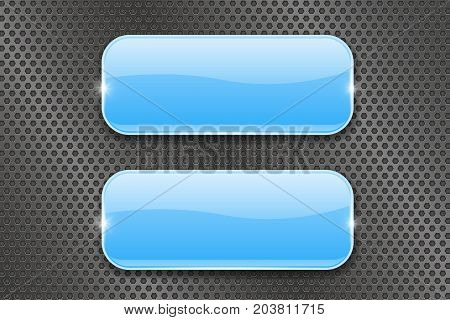 Blue glass buttons on metal perforated background. Vector 3d illustration