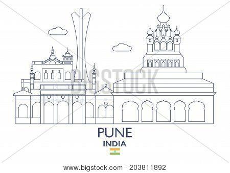 Pune Linear City Skyline India. Famous place