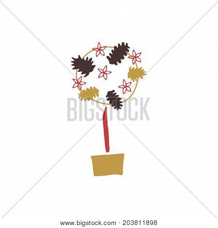 Vector hand drawn isolated element, topiary. Small tree in a pot. Simple modern design, scandinavian style. For holiday cards, decorations, templates. Part of a large winter collection.