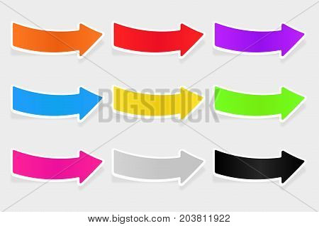 Colored arrows with white border. Sticker labels on gray background. Vector 3d illustration