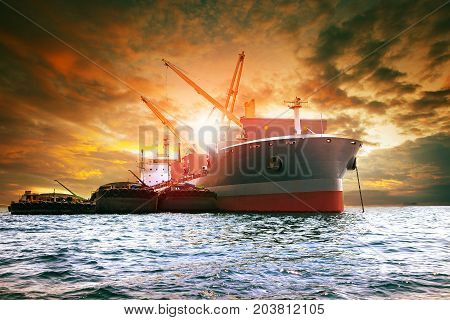large container ship loading industries product for logistic business