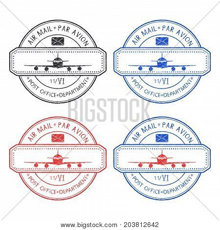 Postmarks with airplane icon. Colored stamps. Vector illustration isolated on white background