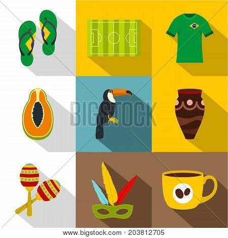 Symbols of Brasil icon set. Flat style set of 9 symbols of Brasil vector icons for web design