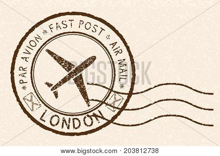Postal stamp with LONDON title. Round brown postmark on beige background. Vector illustration