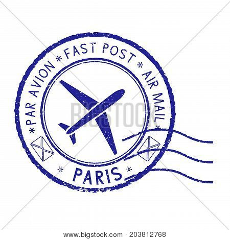 Postal stamp with PARIS title. Round blue postmark. Vector illustration isolated on white background