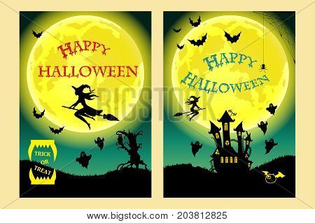 Happy Halloween. Witch, ghost, bat, moon and other items on Halloween theme