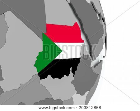 Map Of Sudan With Flag