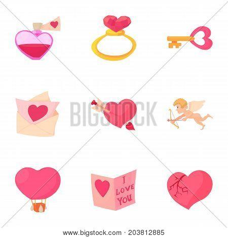 Happy valentine day objects icons set. Cartoon set of 9 happy valentine day objects vector icons for web isolated on white background