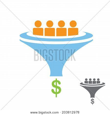 vector Flat sales funnel icon isolated on white background. vector client funnel pictogram