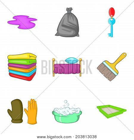 Room cleaning service icon set. Cartoon set of 9 room cleaning service vector icons for web design isolated on white background