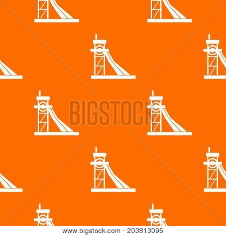 Equipment for washing rocks pattern repeat seamless in orange color for any design. Vector geometric illustration