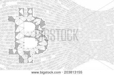 Crypto currency bitcoin. Net banking mining future technology vector concept. Cryptography finance digital worldwide coin binary numbers wave abstract background illustration art