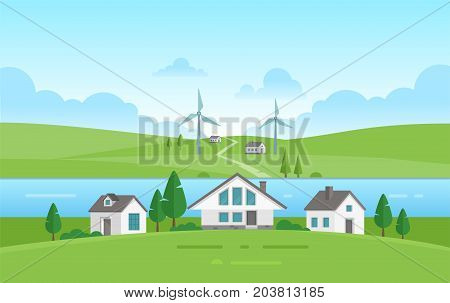 Small houses by the river - modern vector illustration. Landscape in green and blue colors with two riverbanks, trees, small cute low storey suburban houses, blue sky with clouds, park, windmills
