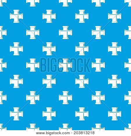 Black pipe fitting pattern repeat seamless in blue color for any design. Vector geometric illustration