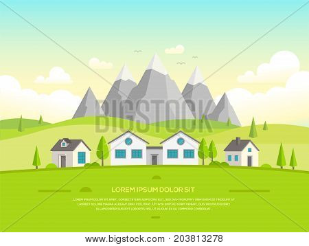Small houses by the mountains - modern vector illustration with place for your text. Peaceful landscape with snowy hills, trees, small low storey suburban houses, blue sky with clouds, flying birds