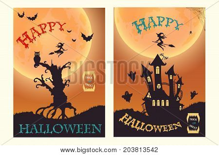 Happy Halloween. Witch, ghost, bat, moon, and other items on Halloween theme
