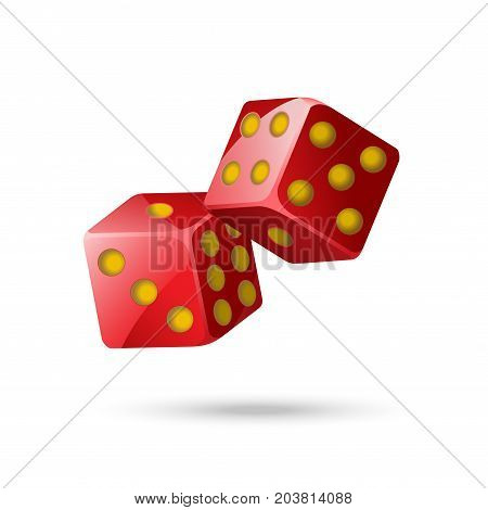 Red poker dice - modern vector isolated object on white background. Two items. Casino, gambling, luck, fortune concept. Use this high quality clip art for presentations, banners, flyers
